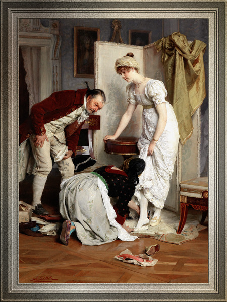 Die Schuhprobe by Franz Xaver Simm Classical Fine Art Old Masters Reproduction by xzendor7