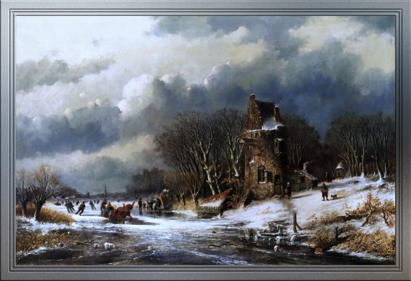 Dutch Landscape With Figures by Andreas Schelfhout Old Master Reproduction by xzendor7