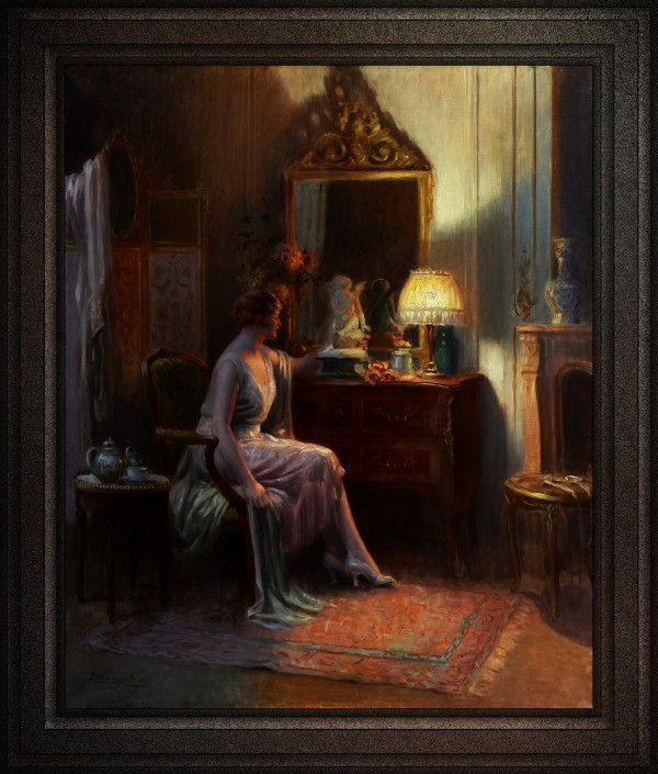 Elegant Lady Admiring A Sculpture by Delphin Enjolras Classical Art Old Masters Reproduction by xzendor7
