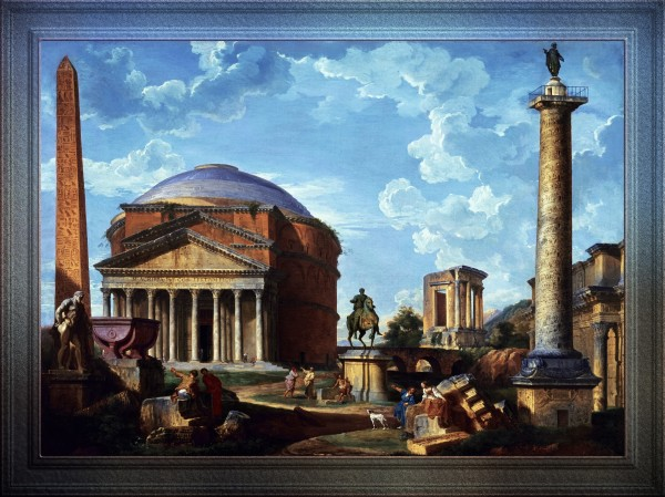 Fantasy View with the Pantheon and other Monuments of Ancient Rome by Giovanni Paolo Pannini Classical Art Old Masters Reproduction by xzendor7