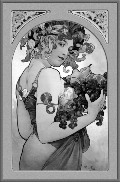 Fruit by Alphonse Mucha Black and White Vintage Xzendor7 Old Masters Art Reproductions by xzendor7