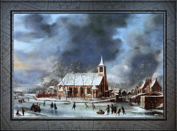 Gezicht op de Kerk te Sloten in de Winter by Jan Abrahamsz Beerstraaten Classical Fine Art Xzendor7 Old Masters Reproductions by xzendor7