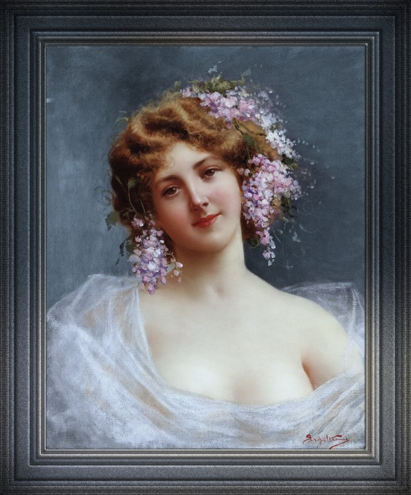 Girl With Lilacs by Achille Beltrame Classical Art Old Masters Reproduction by xzendor7