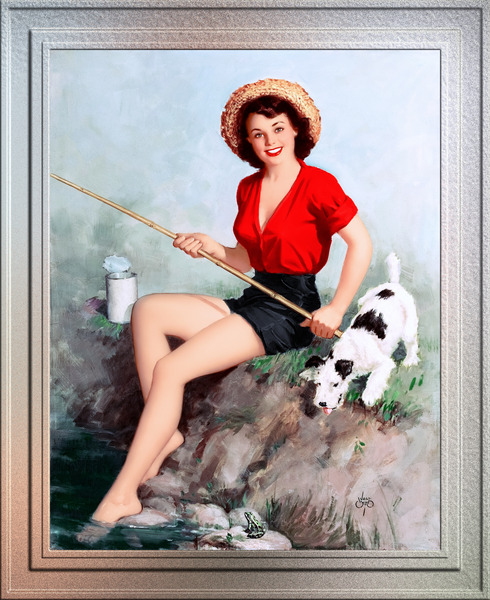 Girl Gone Fishing by Walt Otto Pin-Up Girl Vintage Artwork Xzendor7 Art Reproductions by xzendor7