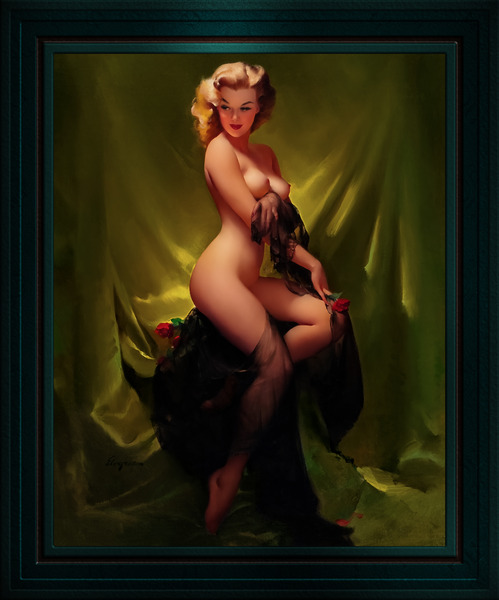 Golden Beauty by Gil Elvgren Vintage Pinup Illustration Xzendor7 Old Masters Reproductions by xzendor7