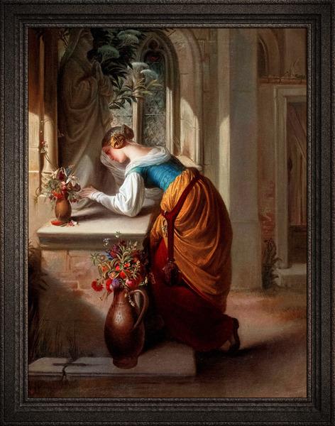 Gretchen vor der Statue der Heiligen Maria by Adam Vogler Classical Art Old Masters Reproduction by xzendor7
