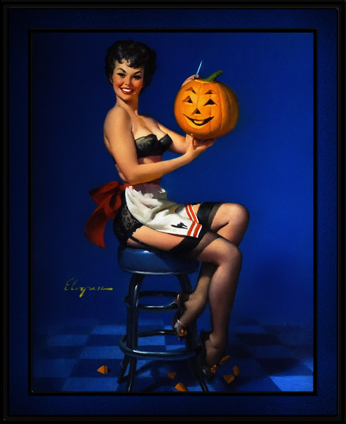 Halloween Pin-up by Gil Elvgren Pin-Up Girl Vintage Art by xzendor7