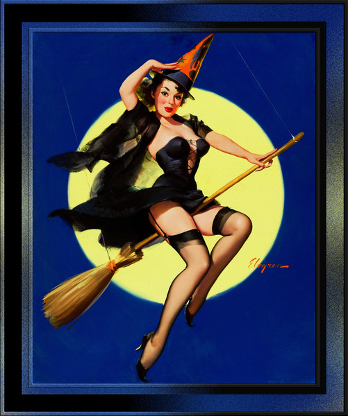 Halloween Witch by Gil Elvgren Pin-Up Girl Vintage Artwork by xzendor7