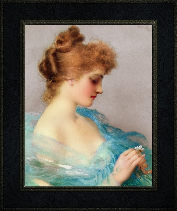 He Loves Me He Loves Me Not by Vittorio Matteo Corcos Old Masters Classical Fine Art Reproduction by xzendor7