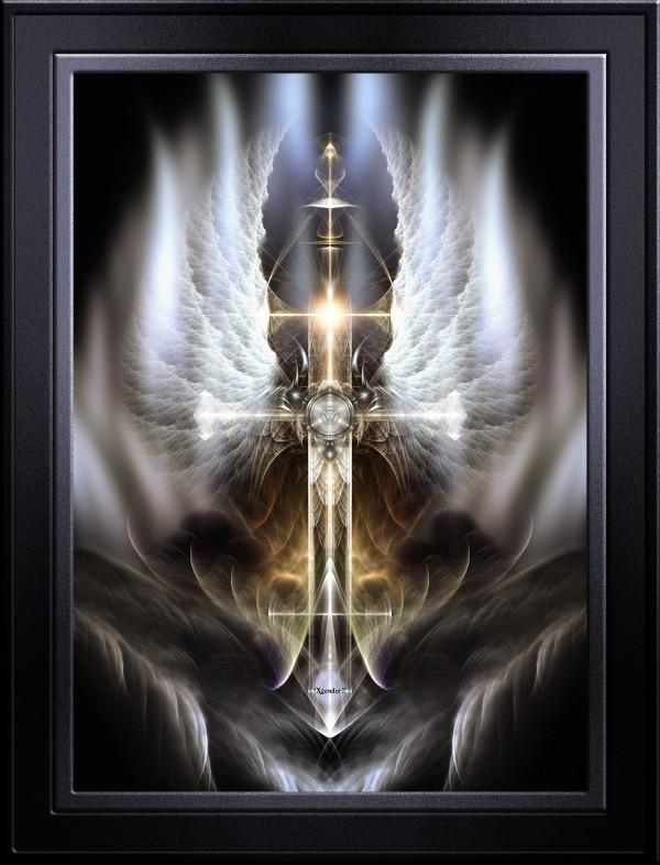 Heavenly Angel Wing Cross Black Steel Fractal Art Composition by xzendor7
