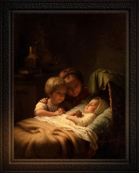 Het Jongste Broertje by Johann Georg Meyer Classical Fine Art Xzendor7 Old Masters Reproductions by xzendor7