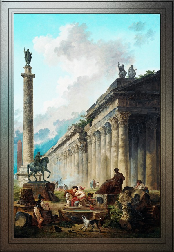 Imaginary View of Rome by Hubert Robert Old Masters Reproduction by xzendor7
