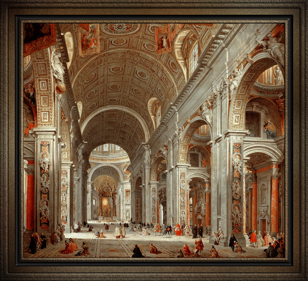 Interior View of St. Peters Basilica by Giovanni Paolo Pannini Old Masters Classical Art Reproduction by xzendor7