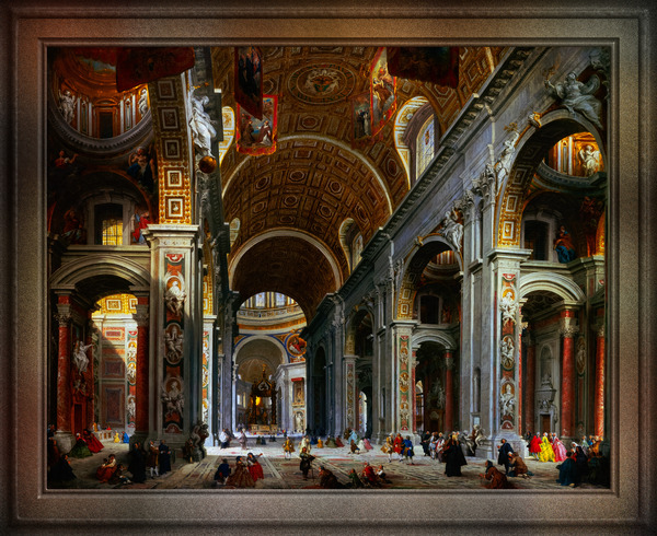 Interior of St. Peters Basilica Rome by Giovanni Paolo Panini Old Masters Fine Art Reproduction by xzendor7