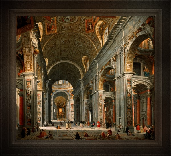 Interior of St. Peters Rome byGiovanni Paolo Panini Old Masters Classical Art Reproduction by xzendor7