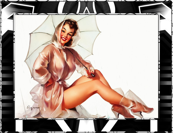 Its A Rainy Day Pin-up Girl Illustration by Gil Elvgren Wall Decor Artwork Xzendor7 Reproductions by xzendor7