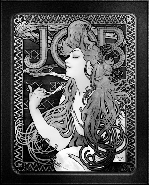 JOB by Alphonse Mucha Black and White Vintage Xzendor7 Old Masters Art Reproductions by xzendor7