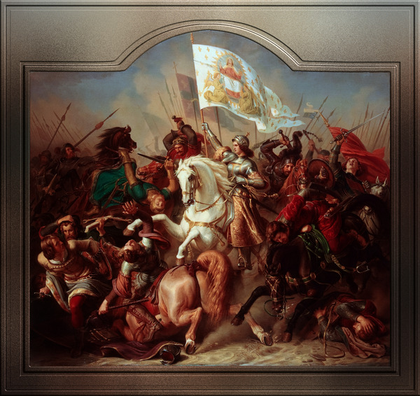 Joan of Arc in Battle  by Hermann Stilke Classical Art Xzendor7 Old Masters Reproductions by xzendor7