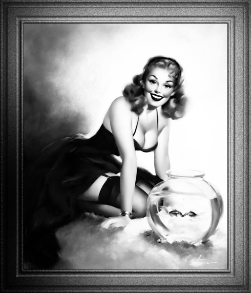 Kissing Fish by Edward Runci Black and White Xzendor7 Vintage Pinup Girl Art Reproductions by xzendor7