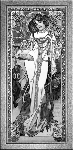 LAutomne by Alphonse Mucha Black and White Vintage Xzendor7 Old Masters Art Reproductions by xzendor7