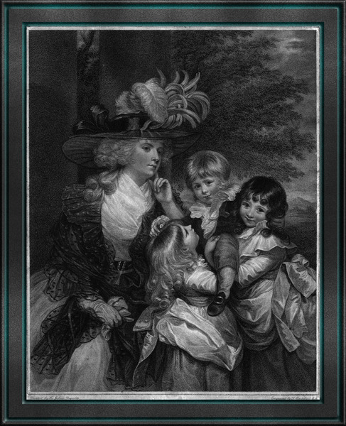 Lady Smith and her Children by Engraver Francesco Bartolozzi Fine Art Old Masters Reproduction by xzendor7