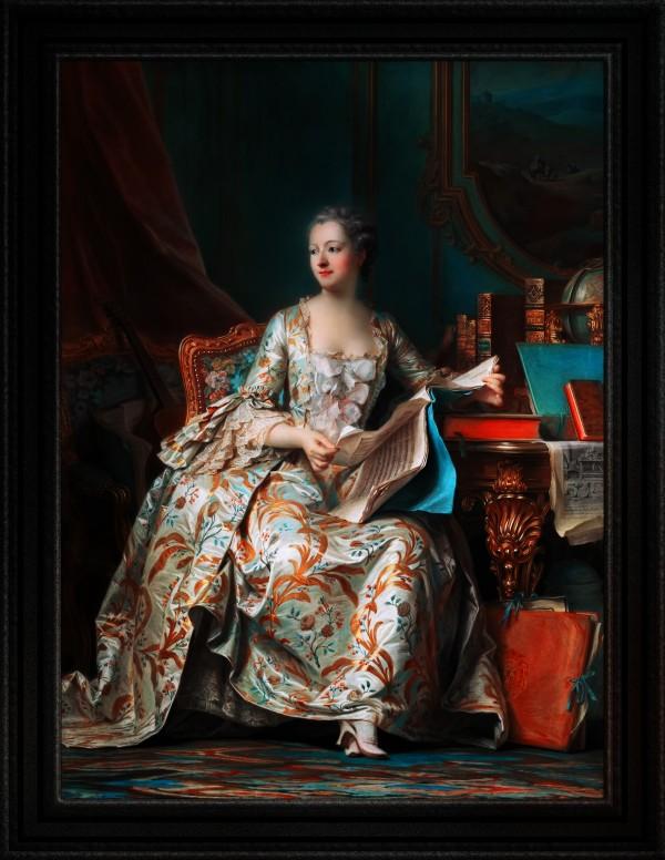 Madame de Pompadour In Her Study by Maurice Quentin de La Tour Classical Old Masters Art Reproduction by xzendor7