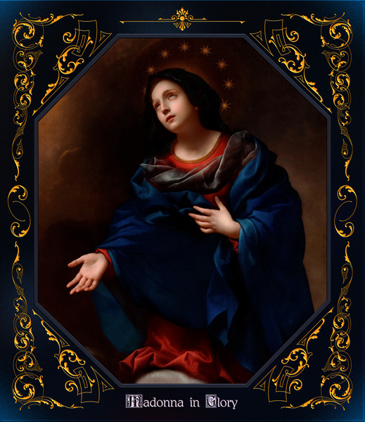 Madonna in Glory by Carlo Dolci Blue Gold Border Xzendor7 Old Master Art Reproductions by xzendor7