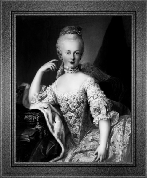 Maria Antoniette of Austria by Martin van Meytens Black and White Xzendor7 Old Masters Art Reproductions by xzendor7