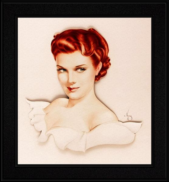 Maureen OHara Poses For Alberto Vargas Pin-Up Girl Vintage Artwork by xzendor7