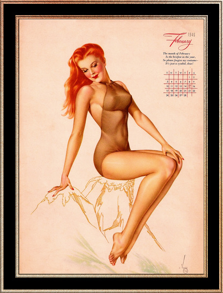 Miss February Varga Girl 1946 Pin-up Calendar by Alberto Vargas Pin-Up Girl Vintage Art by xzendor7