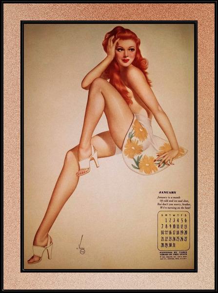 Miss January Varga Girl 1944 Pin-up Calendar by Alberto Vargas Pin-Up Girl Vintage Artwork by xzendor7