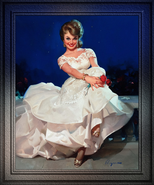 Moonlight and Roses by Gil Elvgren Vintage Fine Art Xzendor7 Old Masters Reproductions by xzendor7