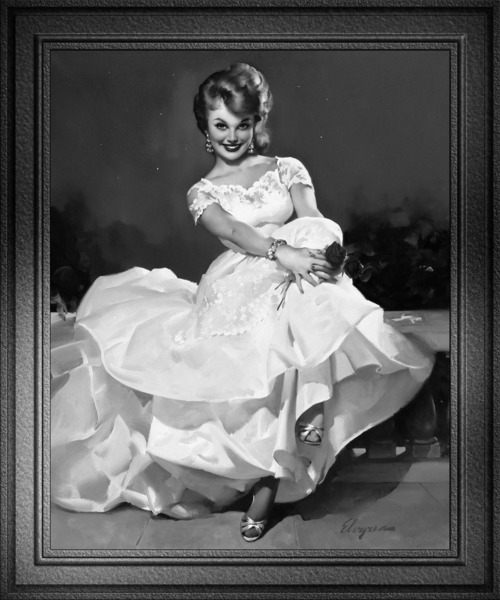 Moonlight and Roses by Gil Elvgren Black and White Xzendor7 Pinup Girl Vintage Art Reproductions by xzendor7
