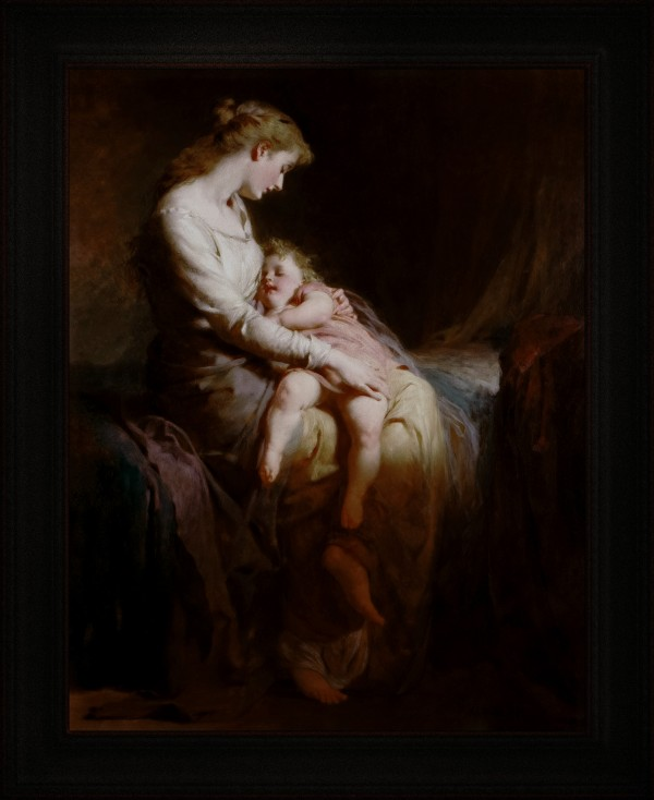 Mother and Child by George Elgar Hicks Old Masters Classical Art Reproduction by xzendor7