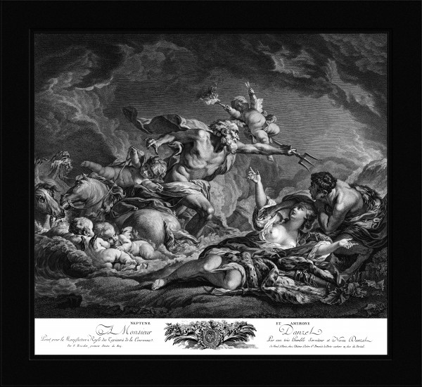 Neptune and Amymone by Engraver Jean Claude Danzel Old Masters Fine Art Reproduction by xzendor7