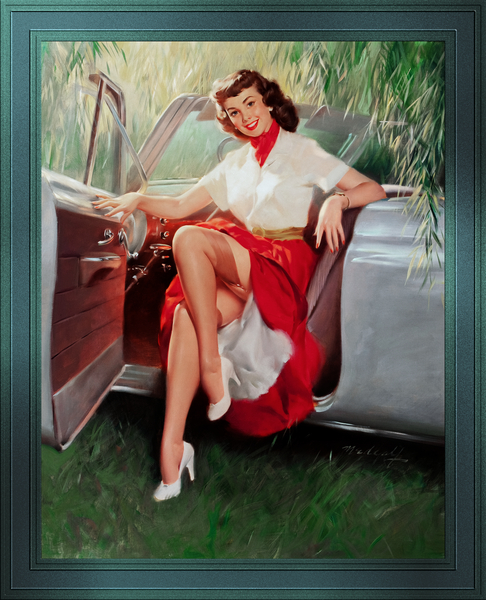 Nice Day For A Drive Pin-up Girl by Bill Medcalf Pin-Up Girl Vintage Artwork by xzendor7