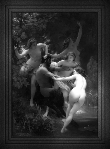 Nymphs and Satyr by William-Adolphe Bouguereau Black and White Xzendor7 Old Masters Art Reproductions by xzendor7