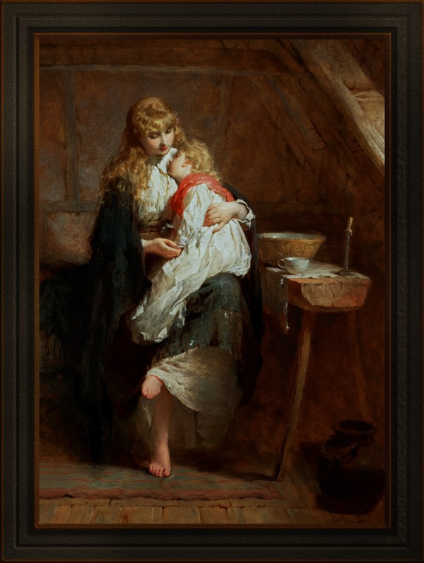 Orphans by George Elgar Hicks Classical Art Old Masters Reproduction by xzendor7