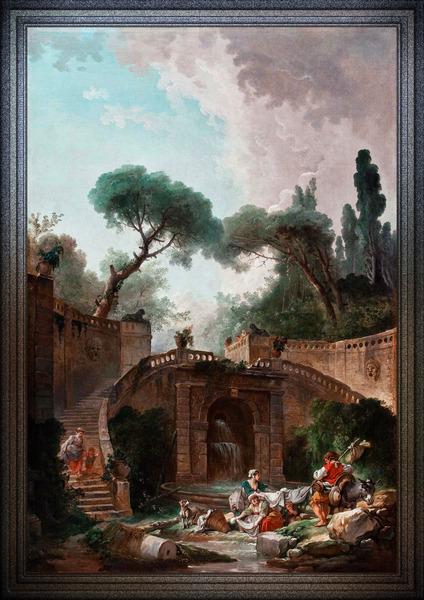 Park vile dEste by Hubert Robert Classical Fine Art Xzendor7 Old Masters Reproductions by xzendor7