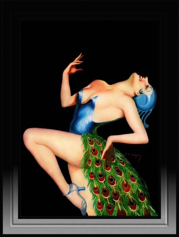 Peacock Dancer by Earle Kulp Bergey Vintage Art Deco Reproduction by xzendor7