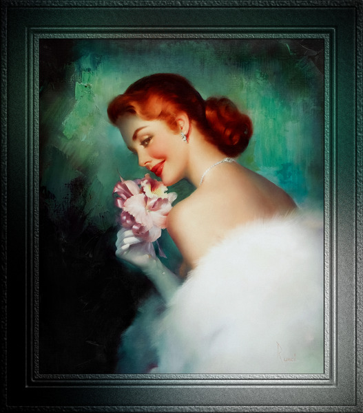 Pink Orchid Corsage by Edward Runci Vintage Pin-Up Girl Art by xzendor7