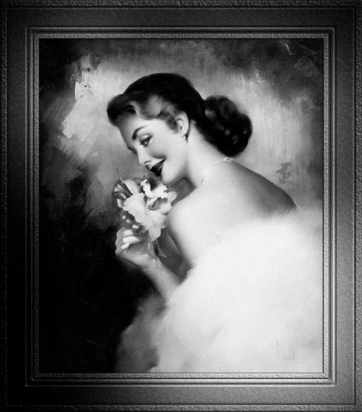 Pink Orchid Corsage by Edward Runci Black and White Xzendor7 Vintage Old Masters Pin Up Girl Art Reproductions by xzendor7