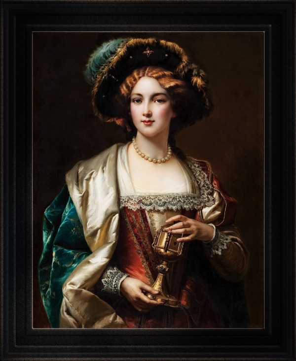 Portrait Of A Noblewoman by Cesare Detti Old Masters Fine Art Reproduction by xzendor7