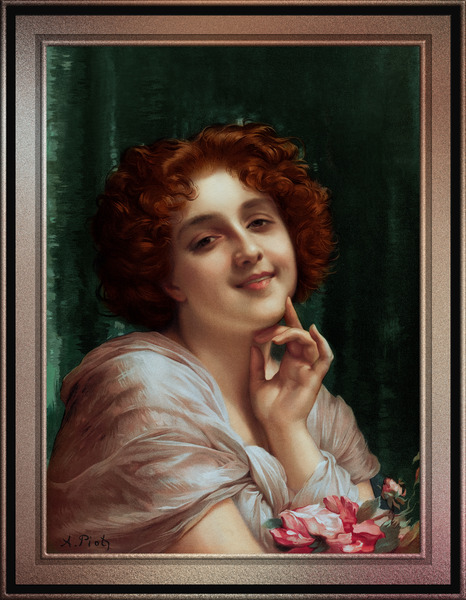 Portrait Of A Girl by Etienne Adolphe Piot Classical Art Old Masters Reproduction by xzendor7