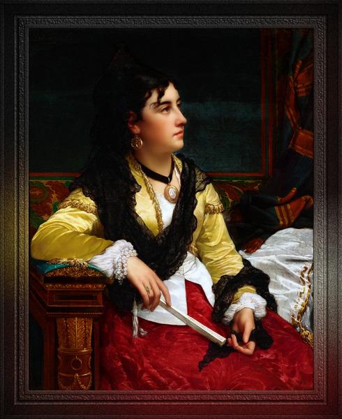 Portrait Of A Noblewoman Holding A Fan by Jan Frederik Pieter Portielje Classical Fine Art Xzendor7 Old Masters Reproductions by xzendor7