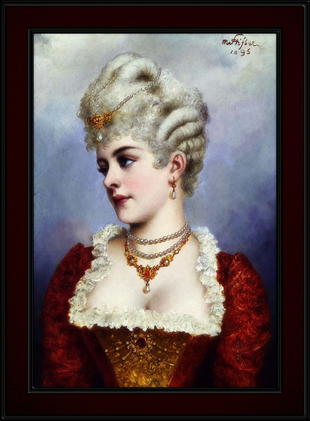 Portrait Of A Young Beauty by Moritz Stifter Old Masters Classical Fine Art Reproduction by xzendor7
