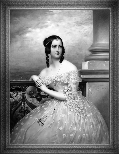 Portrait Of Miss White by Joseph Desire Court Black and White Xzendor7 Old Masters Art Reproduction by xzendor7