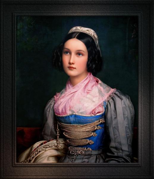 Portrait of Helene Kreszenz Sedlmayr by Joseph Karl Stieler Classical Fine Art Xzendor7 Old Masters Reproductions by xzendor7