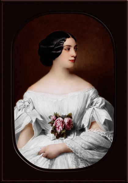 Portrait of Mrs Renouard de Bussiere by Hermann Winterhalter Classical Fine Art Xzendor7 Old Masters Reproductions by xzendor7