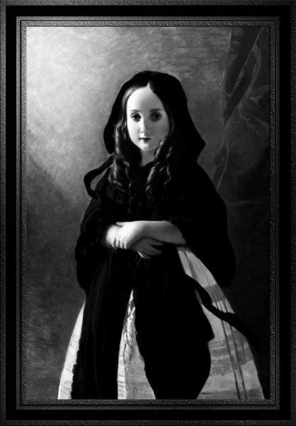Portrait of Princess Charlotte of Belgium by Franz Xaver Winterhalter Black and White Xzendor7 Old Masters Art Reproductions by xzendor7